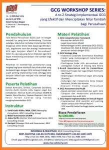 GCG Workshop Series - by PT Multi Utama Indojasa - Kontak 021 78847078-78841036 Hp 08121075881 - 081314851327